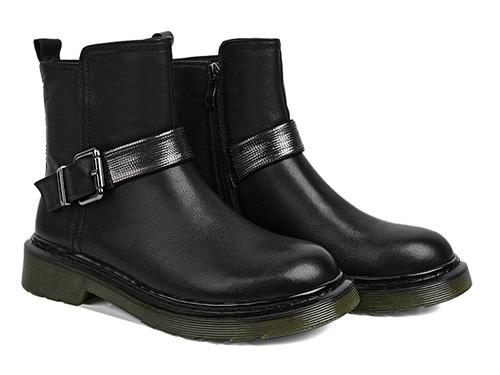 短靴女2019新款黑色牛皮厚底经典英伦