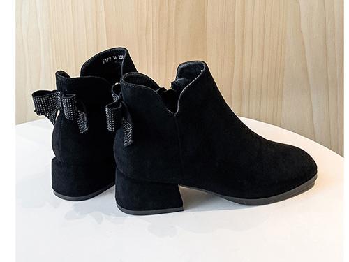 ZHR时尚粗跟短靴蝴蝶结中跟单靴