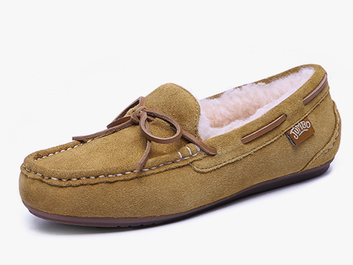 JUMBO简帛2019冬季澳洲羊皮毛一体平底豆豆鞋