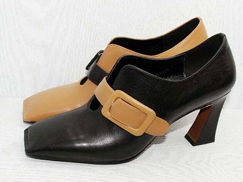 贝丝丽尔春季胎牛皮深口高方跟一字带时尚女鞋