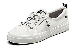 SPERRY斯佩里美��女鞋-百搭白色休�e帆布鞋