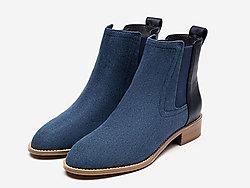 CNE19秋冬新款圆头低跟帆布拼牛皮切尔西靴