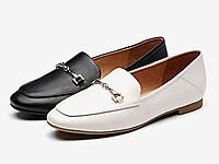 Bata2019春新舒适低跟羊皮乐福鞋