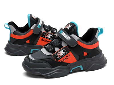 BKG2019秋款新款皮面中大童运动跑步鞋