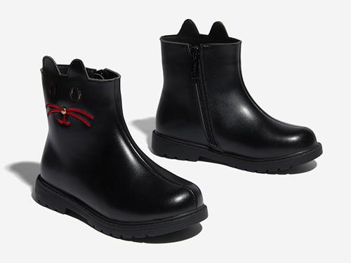 斯纳菲女童靴子加绒2019秋冬新款