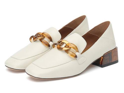 思加图19秋季新款一脚蹬粗跟英伦风乐福鞋