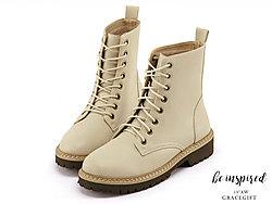 Grace-gift�R丁靴女厚底增高短筒�C�靴