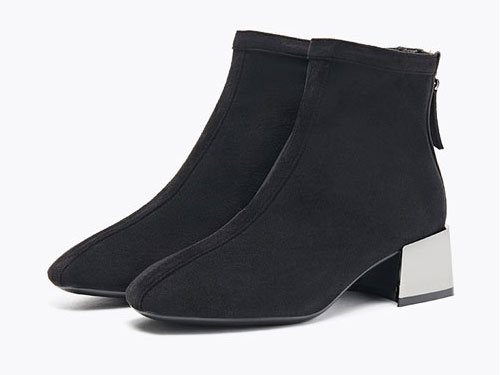 依思q2019新款拉链百搭瘦瘦靴女短靴