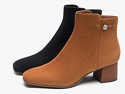 莱尔斯丹2019秋冬新款时尚简约方头粗跟短靴