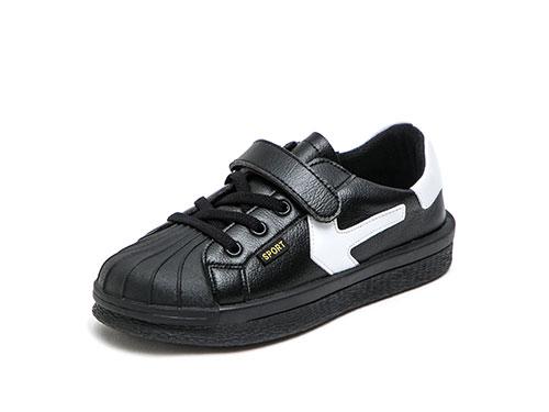 好榜样童鞋黑色休闲皮鞋新款学生贝壳鞋