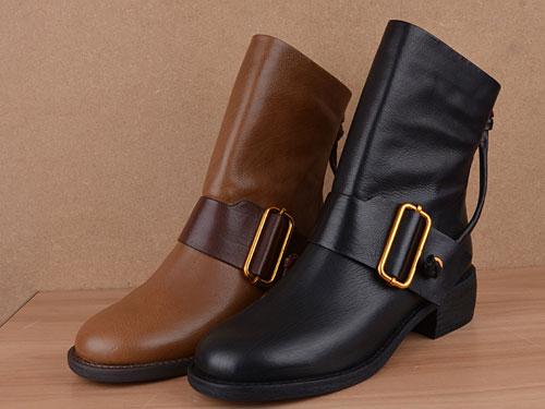 Eiaimi依百媚19冬款胎牛皮粗跟圆头短靴