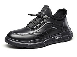 意尔康2019秋季新款黑色真皮运动休闲皮鞋