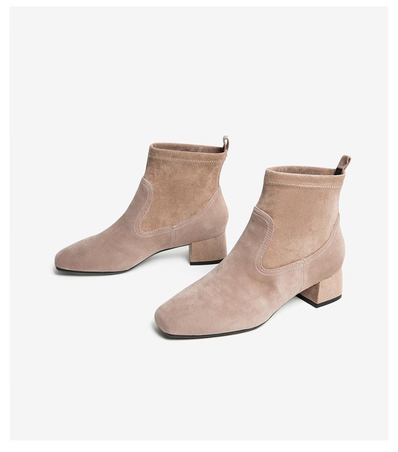 Tata他她2019冬牛皮革通勤圆头粗跟短筒女靴