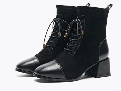 依思q2019冬新款方头粗跟高跟ins潮网红瘦瘦鞋