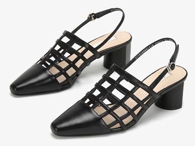 圆漾女鞋2019年秋季新品单鞋镂空格子中跟