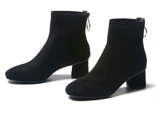 戈美其冬靴冬季新款圓頭粗跟短筒靴子