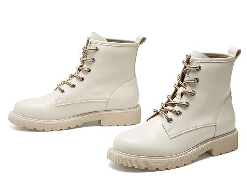 戈美其2019冬季新款圓頭粗跟系帶短筒馬丁靴