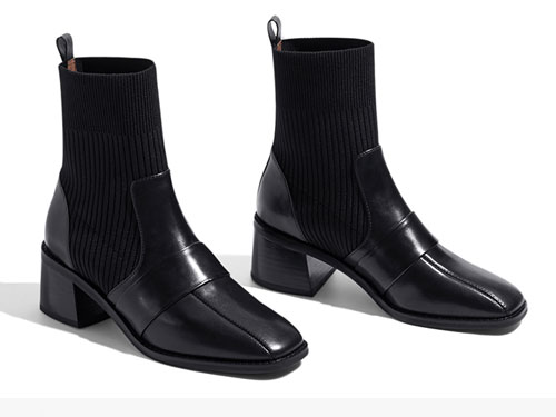 莎莎�K2019新款拼接�m靴高跟方�^切��西靴