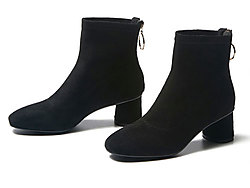 戈美其冬靴冬季新款圆头粗跟短筒靴子