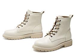 戈美其2019冬季新款圆头粗跟系带短筒马丁靴