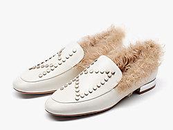 莎莎�K2019新款�r尚毛�豆豆鞋女平底�涡�