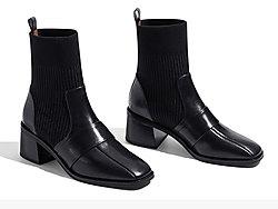 莎莎苏2019新款拼接袜靴高跟方头切尔西靴