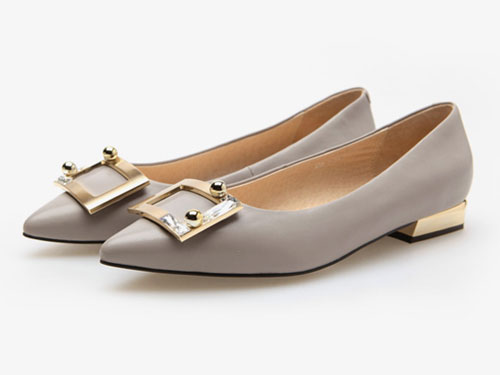 fed2019新款女鞋秋季时尚尖头舒适低跟单鞋
