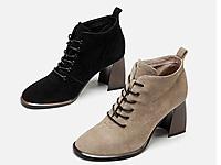 白领丽人系带高跟短靴2019秋冬新款英伦马丁靴
