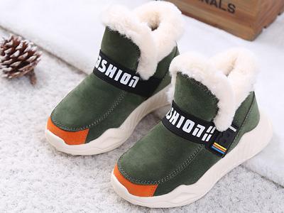 咔路比2019冬季新款童鞋加绒短筒靴子