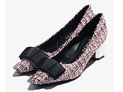 ?#29123;?#29677;妮2019秋季新款优雅粗跟单鞋