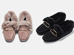 ��露迪毛毛鞋女冬款加�q豆豆鞋瓢鞋