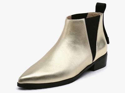 jadyrose冬季新款欧美切尔西靴尖头平底弹力短靴