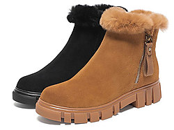 Teenmix天美意2019冬休闲保暖方跟女皮靴短靴
