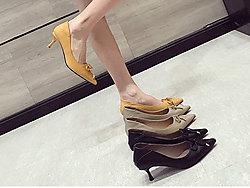 印象风尖头细跟低跟蝴蝶结女鞋单鞋
