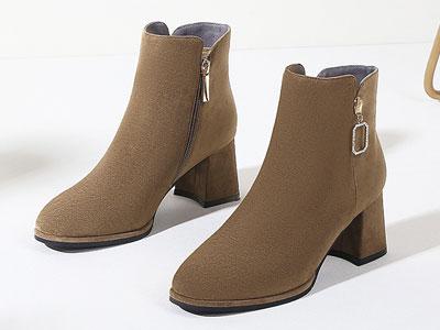 高蒂2019冬季新款短靴时尚方头女靴