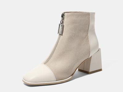 卡美多2019秋冬季新款方头中跟短靴
