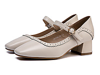 �W康女鞋-2020春季新款牛皮革方�^�\口