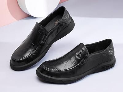 駱駝男鞋2020春季新款真皮時尚套腳商務鞋