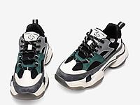 百思图2020春季新款撞色系带厚底老爹鞋