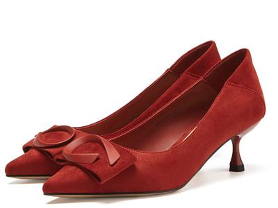 戈美其2020春季新款尖頭絨面蝴蝶結單鞋