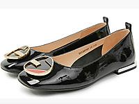 伊伴女鞋2020春季新款牛漆皮低跟平底鞋