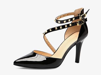 fed鞋子女欧美时尚铆钉不对称绑带单鞋