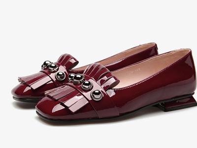 fed女鞋秋冬复古方头牛皮镜面铆钉浅口鞋