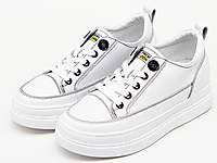 舒士客女款加厚内增高橡胶底真皮板鞋