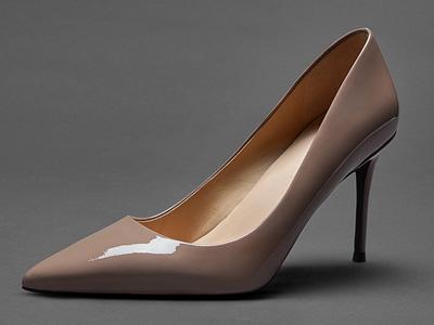 烫社交女鞋米白色真皮中跟尖头浅口细高跟鞋