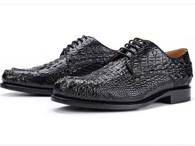 老鞋匠鳄鱼皮商务正装皮鞋手工固特异皮底男鞋