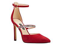 Nine-West玖熙女红色高跟鞋细跟尖头