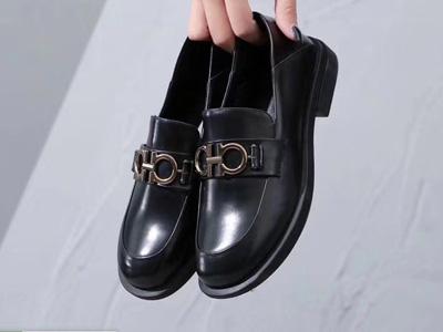 欧米高2020春季新款头层牛皮深口平底单鞋