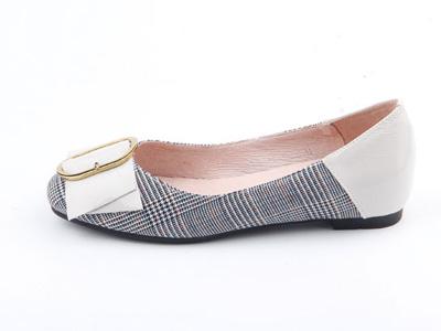 仙妮特低跟平底方頭淺口時尚休閑單鞋