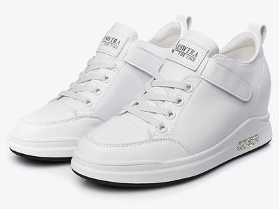 皇妹2020时尚内增高魔术贴女生小白鞋
